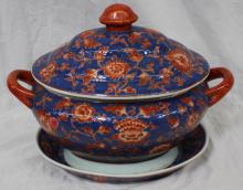 Large Chinese Export Covered Soup Tureen & Underplate