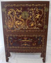 Chinese Export Mid 20th c. Carved Hand Painted Blanket Chest