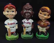 (3)1980 Green Base Baseball Bobbing Nodder Head Dolls