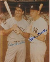 Mickey Mantle And Rocky Colavito Dual Signed 8