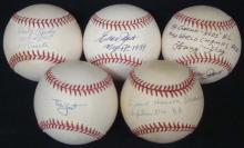 Lot of (5) Single Signed Baseballs by Old Timers