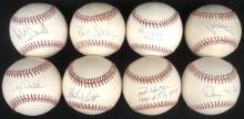 Lot of (8) Single Signed Baseballs by Cy Young Award Winners