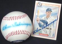 Chas Gehringer Single Signed Baseball and 1983 Donruss Card