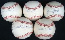 Lot of (5) Single Signed Baseball by Negro Leaguers, Josh Gibson Jr.