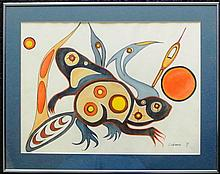 Watercolor of Spirit Animals by Ojibwa Artist Cobiness
