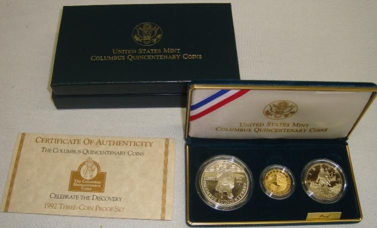 1992 US Mint Columbus Quincentenary 3 Coin Set COA $5 Gold, $1 Silver $.50 Silver