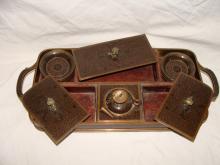 Enamel on Copper Tea Tray Set