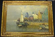 F. Wagner Oil on Canvas Dock Scene