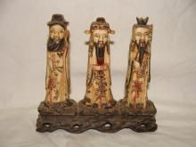 Early Chinese Carved Bone Immortals Men Figurine