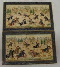 Persian Mosiac Baked Enamel Hunting Warrior Tiles