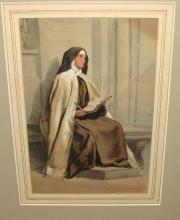 Signed Louis Haghe 1853 Watercolor Sister Theresa