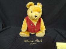Steiff Bear Winnie Pooh Replica Bear with Maroon Vest