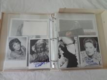 Lot of 33 Autographs in Binder, Omar Sharif, Eli Wallach, Gore Vidal, Joan Fontaine