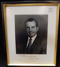 President Richard Nixon signed and framed photo, Personalized Autograph