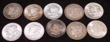 $10 Face Value Morgan Dollars various dates 90% Silver, 10 Coins Total