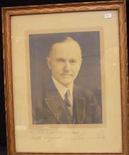 1923 Signed Calvin Coolidge framed photo, Personalized Autograph