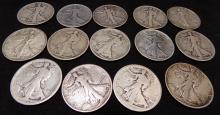 $7.00 Face Value Early Lot of Walking Liberty Half Dollars 90% Silver, 14 Coins Total