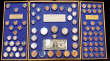 Historical United States Coin Collection Wall Unit by Kennedy Mint, Morgan, Peace, Barber+