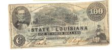 1863 State of Louisiana $100 Note Confederate Currency