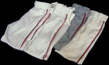 Lot of (4) Pairs of Game Worn Pants by Various Cleveland Indians