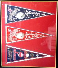 1963 Cleveland Indians All-Star (3) Pennant Display Piece