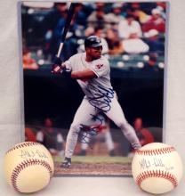 Albert Belle Autographed Pair of Baseballs and 8x10 Photograph