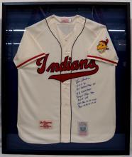 Rare Lou Boudreau Autographed Cleveland Indians Stat Jersey