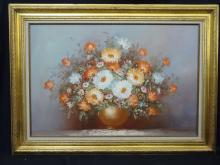 Oil on Canvas by Robin Still Life Flowers and Vase