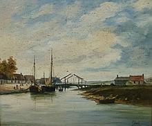 Michel Girard(b. 1939, French) Oil On Canvas Harbor Scene