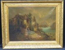 19th c Oil on Canvas Gilt Period Framed