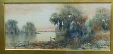 James Ralph Wilcox(Florida, 1866-1915) Watercolor Florida Glades