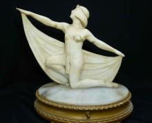 Art Nouveau Alabaster Female Sculpture