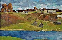 Alexander Kremer (Russian, b. 1958) Oil on Board Village Scene