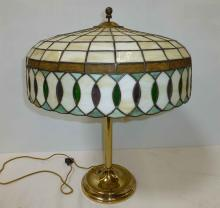 Brass Lamp with Leaded Glass Shade