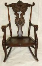 Mahogany Carved Freemason Symbolism Rocking Chair