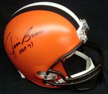 Jim Brown Signed and Inscribed Full Size Cleveland Browns Riddell Helmet
