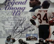 Walter Payton Signed and Inscribed Stat Sheet Matted and Framed