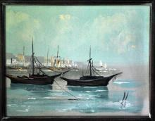 Yachts on the Roadstead Mid Century Oil on Canvas Signed
