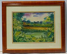 Paul Travis(American 1891 - 1975) Jungle Scene  1961 Watercolor