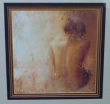 John Richard Nude II Painting in Yellow & Black Ochure