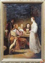 18th c. Dutch School Oil on Canvas Gesso frame