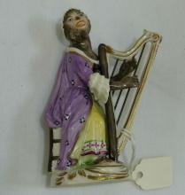 Volkstedt Monkey Band Harp Player Figurine