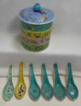 Enamel on Porcelain Stacking Rice Dishes and Spoons