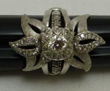 Diamond Solitaire & Wrap Art Deco 14k Gold Ring