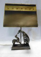 Patinated Metal BORZOI Dog Table Lamp