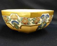 6 Sided Art Nouveau Bowl Artist signed