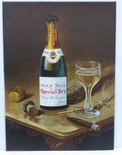 Sentenne & Green Superb Tin Advertising Sign Gold Seal Wine