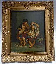 After Bartolome Murillo (Spanish, 1617-1682) Oil on Copper Two Boys Eating