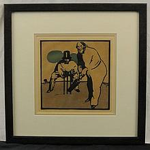 William Nicholson Color Lithograph Men Playing Crickett