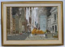Robert Lebron Oil On Canvas Chicago Streetscape Art Institute Down Michigan Avenue